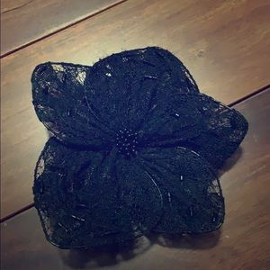 Accessories - Vintage black lace flower barrette pin